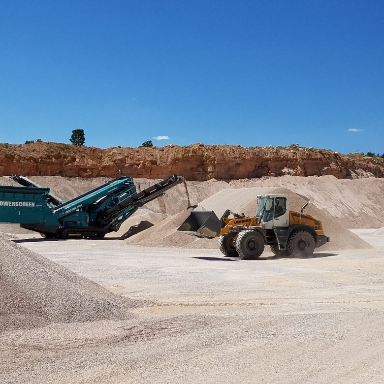 A limestone quarry with machines