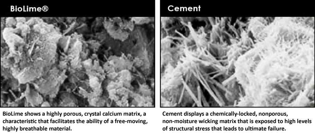 BioLime vs. cement under microscopy
