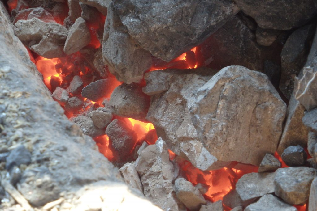 Limestone being fired in a kiln